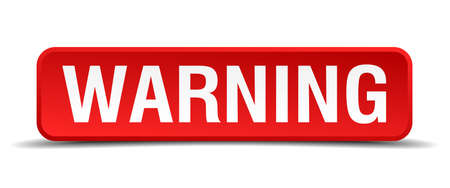 jeopardy: Warning red 3d square button isolated on white Illustration