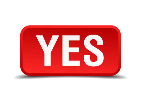 confirmed verification: Yes red 3d square button isolated on white Illustration