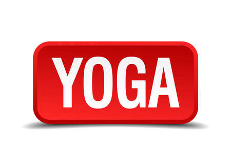 3d om: Yoga red 3d square button isolated on white Illustration