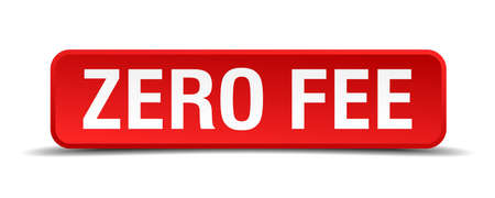 fee: Zero fee red 3d square button isolated on white Illustration