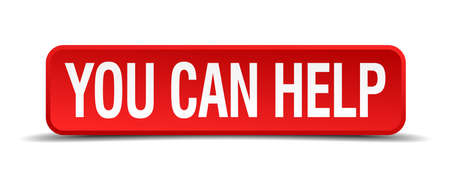 join our team: You can help red 3d square button isolated on white