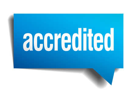 accredited: accredited blue 3d realistic paper speech bubble