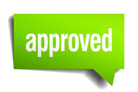 approbation: approvato 3d verde carta realistico nuvoletta Vettoriali