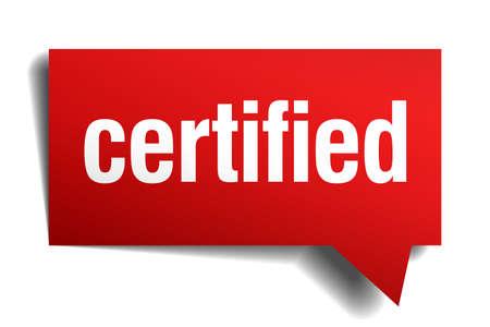 categorized: certified red 3d realistic paper speech bubble Illustration