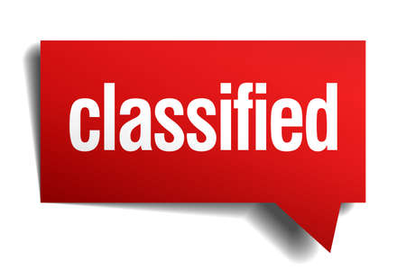 confidentiality: classified red 3d realistic paper speech bubble