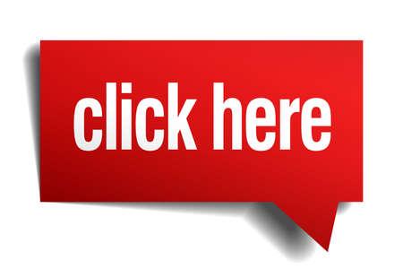 Klicken Sie hier, red 3d realistische Papier Sprechblase Standard-Bild - 32714690