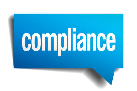 compliant: compliance blue 3d realistic paper speech bubble