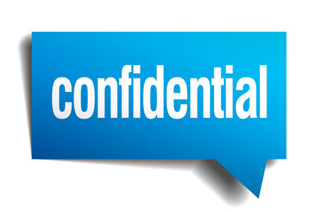 confidentially: confidential blue 3d realistic paper speech bubble Illustration