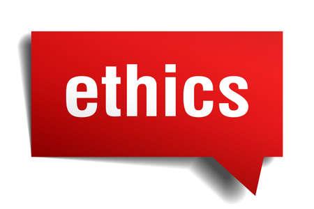 ética 3d rojo de papel realista burbuja de diálogo