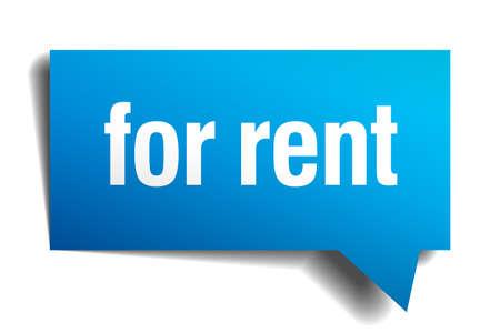 for rent: for rent blue 3d realistic paper speech bubble Illustration