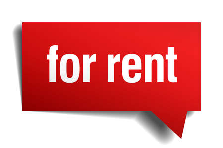 for rent: for rent red 3d realistic paper speech bubble