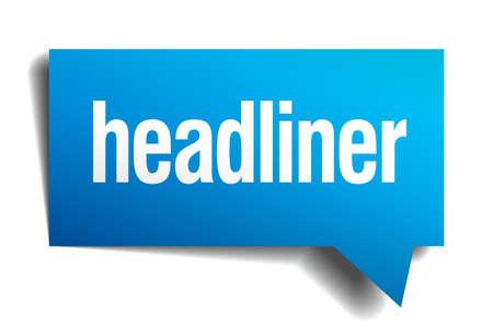 headliner: headliner blue 3d realistic paper speech bubble Illustration