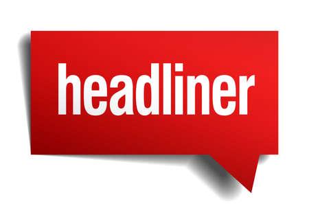 headliner: headliner red 3d realistic paper speech bubble