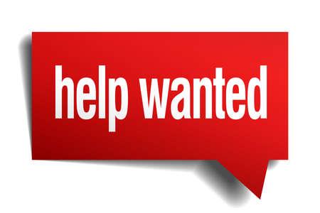 help wanted sign: Help Wanted 3d burbuja del discurso de papel realista rojo