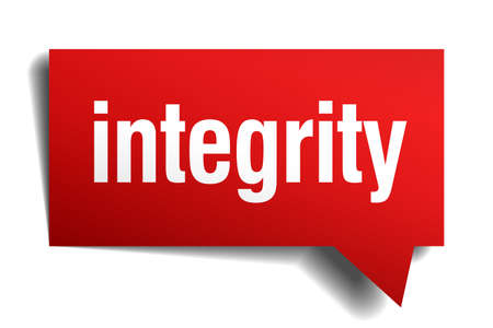 integrity red 3d realistic paper speech bubble Vector