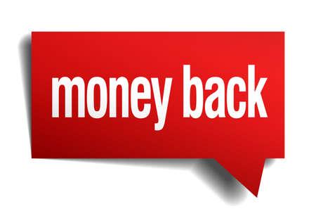 money back red 3d realistic paper speech bubble Vector