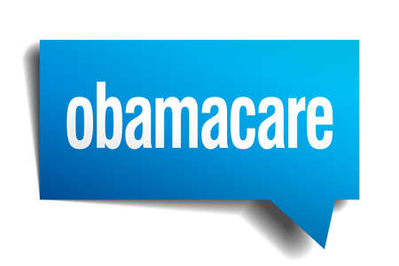 obamacare blue 3d realistic paper speech bubble Vector