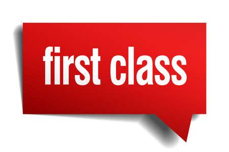 first class red 3d realistic paper speech bubble Vector