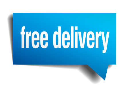 free delivery blue 3d realistic paper speech bubble Vector