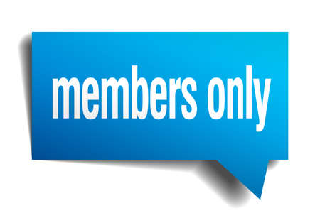 members only blue 3d realistic paper speech bubble Vector
