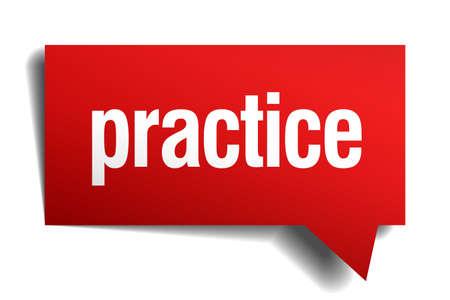 best practice: practice red 3d realistic paper speech bubble
