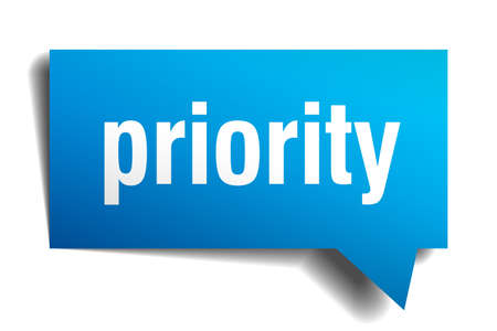 precedency: priority blue 3d realistic paper speech bubble