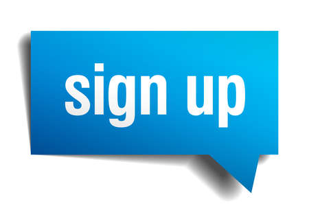 sign up blue 3d realistic paper speech bubble Stock Illustratie