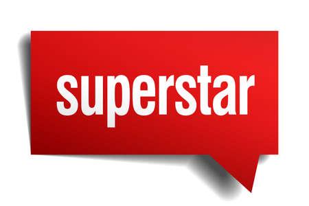 superstar: superstar red 3d realistic paper speech bubble