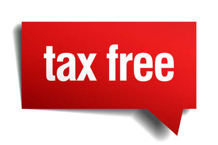precedency: tax free red 3d realistic paper speech bubble