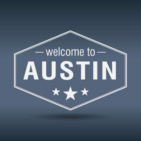 welcome to Austin hexagonal white vintage label Vector