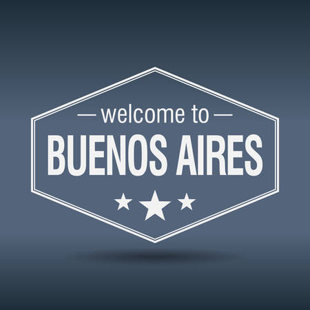 buenos aires: willkommen in Buenos Aires sechseckige wei�e Vintage-Label