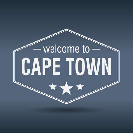 cape town: welcome to Cape Town hexagonal white vintage label
