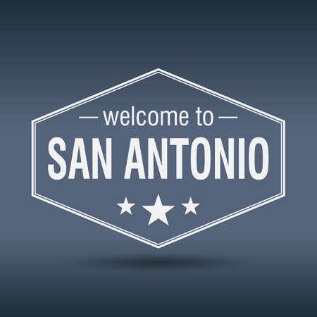welcome to San Antonio hexagonal white vintage label Vector