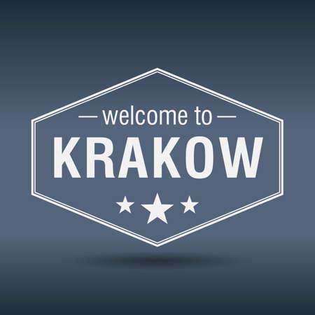 krakow: welcome to Krakow hexagonal white vintage label