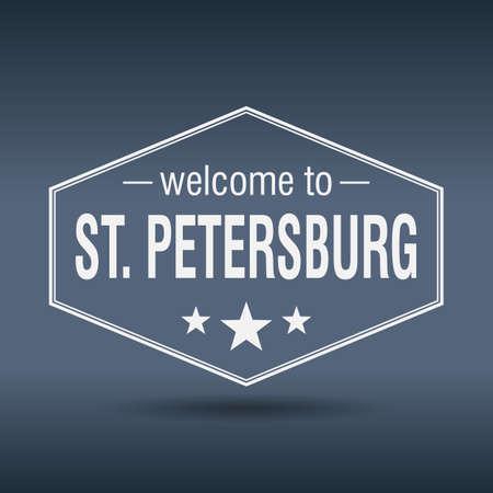 st  petersburg: welcome to St Petersburg hexagonal white vintage label