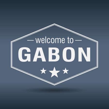 gabon: welcome to Gabon hexagonal white vintage label
