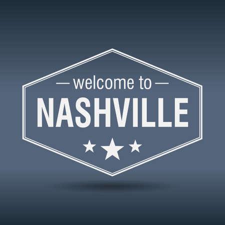 nashville: welcome to Nashville hexagonal white vintage label