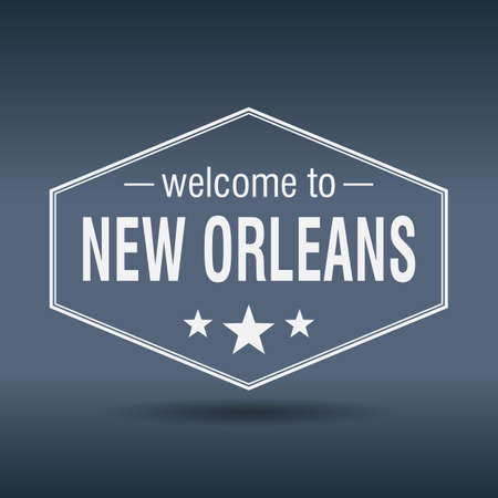 new orleans: welcome to New Orleans hexagonal white vintage label