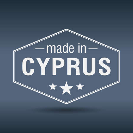 made in Cyprus hexagonal white vintage label Vector