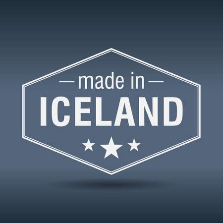 made in Iceland hexagonal white vintage label Vector
