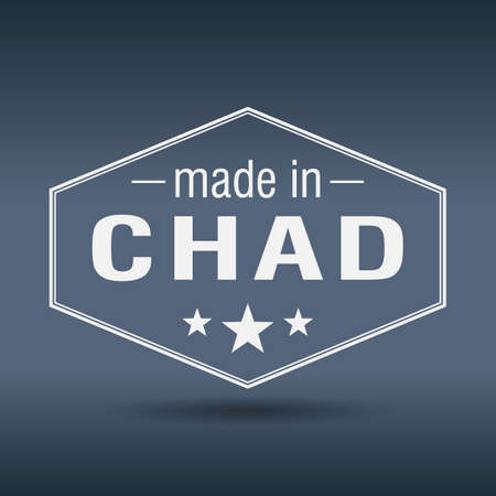 chad: made in Chad hexagonal white vintage label