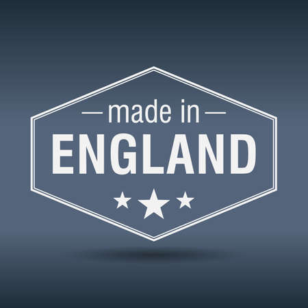 made in England hexagonal white vintage label Vector