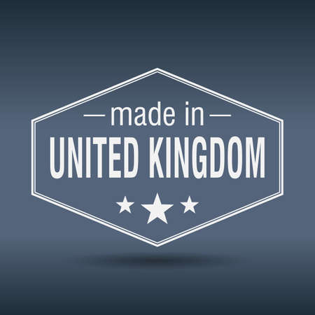 made in United Kingdom hexagonal white vintage label Vector
