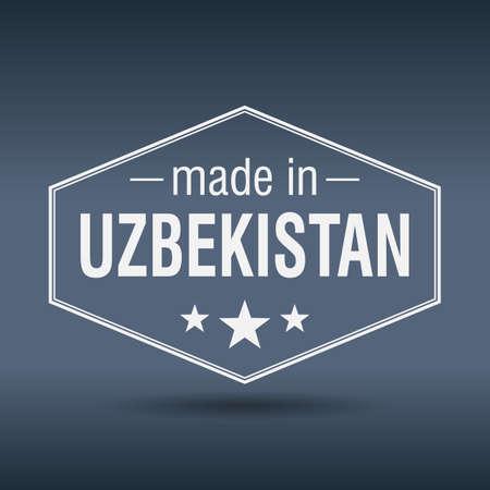 oezbekistan: gemaakt in Oezbekistan zeshoekige witte vintage label