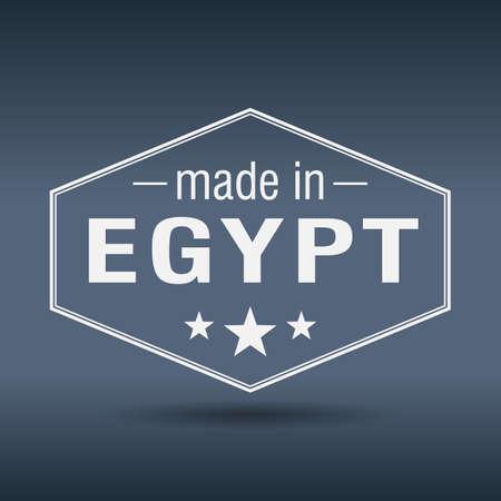 made in Egypt hexagonal white vintage label Vector