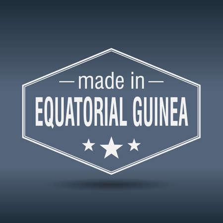 equatorial: made in Equatorial Guinea hexagonal white vintage label