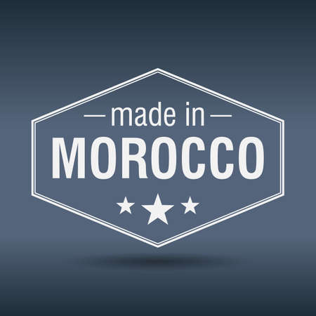 made in morocco: made in Morocco hexagonal white vintage label