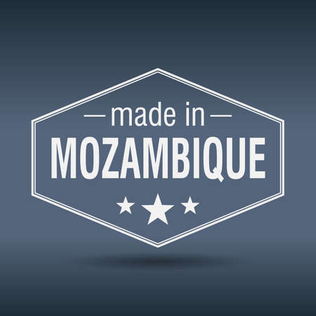 mozambique: made in Mozambique hexagonal white vintage label
