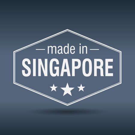made in Singapore hexagonal white vintage label Vector