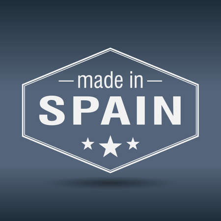 made in spain: made in Spain hexagonal white vintage label